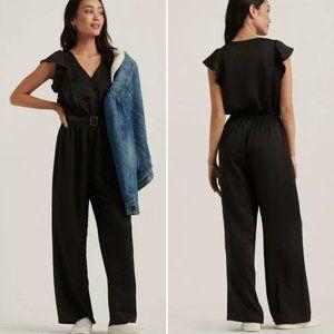Lucky Brand Madison Ruffle Black Jumpsuit MED